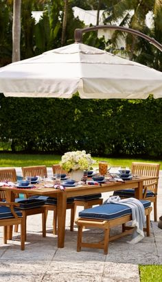 Our Cassara Dining Collection offers a full menu of options to suit your space, with additional pieces to create a complete outdoor dining experience. Each piece is handcrafted from plantation-grown teak that has been kiln dried to eliminate expansion and shrinkage. Outdoor Rooms, Outdoor Dining, Outdoor Furniture Sets, Outdoor Decor, Outdoor Seating, Outdoor Ideas, Extendable Dining Table, Round Dining Table, Cantilever Umbrella