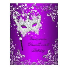 Purple Quinceanera 15th Birthday Masquerade 4.25x5.5 Paper Invitation Card