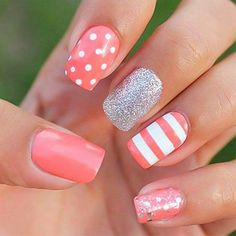 20 classic nail designs you want to try now! - Hairstyle 2019 - 20 classic nail designs you want to try now! Nail Designs 2014, Gel Nail Art Designs, Cute Nail Designs, Pretty Designs, Coral Nail Designs, Fancy Nails, Love Nails, Diy Nails, Style Nails