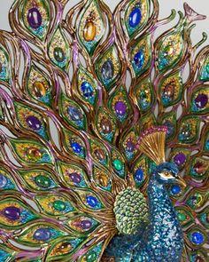 Jay Strongwater Stanton Fan Tail Peacock Figurine