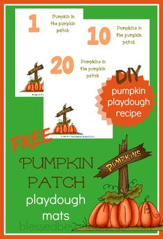 Your children have FUN with these  FREE pumpkin patch playdough mats! Be sure to make the awesome pumpkin pie playdough recipe, too!