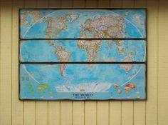 Large World Map Art. National Geographic distressed World Map