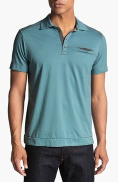 Jeremiah 'Vincent' Jersey Polo | Nordstrom  Note the short sleeves, shorter length, length of shirt is good.