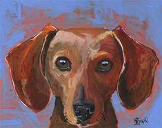 Teckel+Art+Print+van+originele+Acryl+schilderij++8+x+10+hond