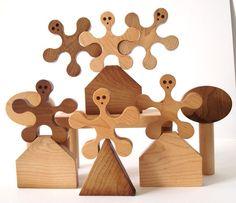 Stacking Balancing Wood Blocks Play Set 23 Pieces Hand Cut Scroll Saw