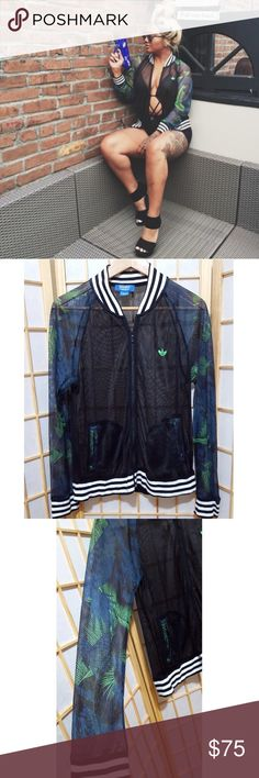 Sexy💚Mesh Adidas Floral Print Jacket M Really rare no longer sold online Real sexy .. Great for the beach or a club..or wear a top underneath for an everyday look Great condition..no holes in the mesh adidas Jackets & Coats