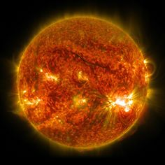 NASA's Solar Dynamics Observatory captured this image of a solar flare on Oct. The solar flare is the bright flash of light on the right limb of the Sun. A burst of solar material erupting out into space can be seen just below it. Sistema Solar, Cosmos, Nasa Sun, Weather Predictions, Space Story, Nasa Goddard, Advantages Of Solar Energy, Nasa Images, Nasa Pictures