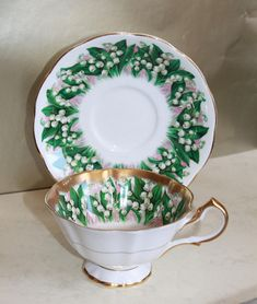 Lily Of The Valley Gold Lustre Cup & Saucer . Queen Anne China of England. Perfect for Afternoon Tea, 2 Available. Coffee Cups, Tea Cups, Lily Of The Valley, Antique Glass, Queen Anne, Luster, Afternoon Tea, Bone China, Cup And Saucer