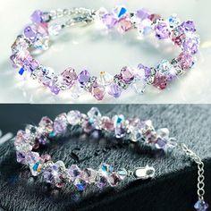 Amazing Purple Color Water-Drop Women's Crystal Bracelet With 925 Sterling Siver - Bracelets