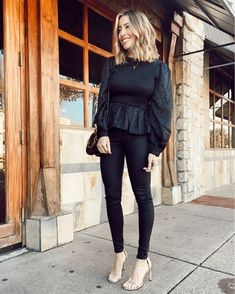 All black winter work look Fall Winter Outfits, Winter Wear, Office Outfits, Work Outfits, Peplum Blouse, Work Looks, Office Style, Office Fashion, Winter Looks