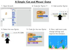 Cat and Mouse Game - A very simple game that can be made in Scratch and then adapted. Mouse Pointers, Coding, Education, Game, School, Simple, How To Make, Ideas, Gaming