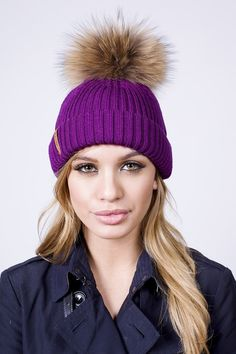 Womens Fur Pom Pom hat with real fur in Blackcurrant