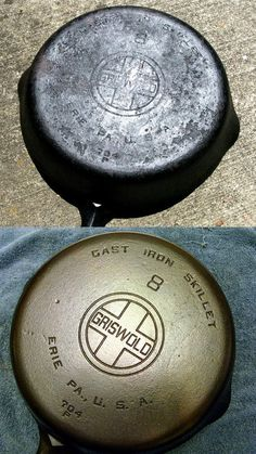 I Believe I Can Fry: Reconditioning & Re-Seasoning Cast Iron Cookware. Finally, a method for reconditioning cast iron without the need for a roaring campfire or a self-cleaning oven! Diy Cleaning Products, Cleaning Solutions, Cleaning Hacks, Iron Cleaning, Cleaning Rust, Deep Cleaning, Cast Iron Skillet, Cast Iron Cooking, Skillet Cooking