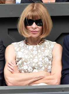 Anna Wintour in white floral embroidery summer dress at #Wimbledon2014