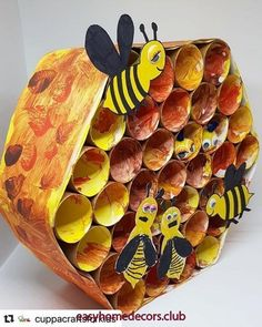 Arım balım pereğim with ・・・ BUSY BEE HIVE Bees and I have history - last summer I was stung on… Bee Crafts For Kids, Preschool Crafts, Projects For Kids, Art For Kids, Craft Projects, Arts And Crafts, Paper Crafts, Bee Activities, Bee Art