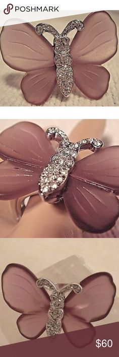 """NWOTs """"Wings of Desire"""" Kenneth Jay Lane Ring Beautiful silver tone Kenneth Jay Lane Ring.  Translucent purple butterfly wings with crystal encrusted body and highly polished shank. Comes with original red KJL dust bag and red box.  Measures approximately 1"""" L x 3/4"""" W. Kenneth Jay Lane Jewelry Rings"""