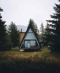 via heavywait - modern design architecture interior design home decor & A Frame Cabin, A Frame House, Tiny House Movement, Natur House, Cabin In The Woods, Cozy Cabin, Cabin Tent, Cabins And Cottages, Cabin Homes
