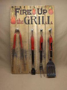 Pallet Wood Grill Sign, Fire Up the Grill Tool Sign, Utensil Holder, Grill Tool Holder, Father's Day Gift, Housewarming Gift by SouthernTimez on Etsy