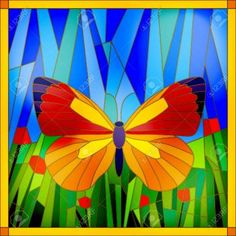 37503405-Colorful-stained-glass-butterfly-on-sky-and-grass-background-Stock-Vector