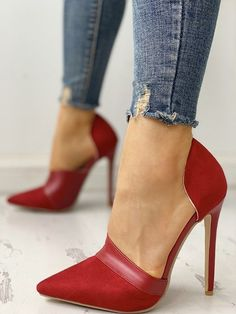 Pointed Toe Suede & PU Heels - Laufschuhe - Best Shoes World Dr Shoes, Cute Shoes, Me Too Shoes, Pretty Shoes, High Heel Pumps, Women's Pumps, Stiletto Heels, Red Heels, Red Pumps