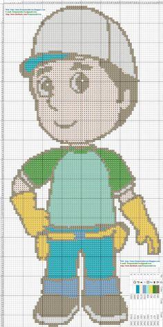 Handy Manny Cross Stitch Pattern - Many a la obra punto de cruz.jpg (JPEG-afbeelding, 800×1600 pixels)