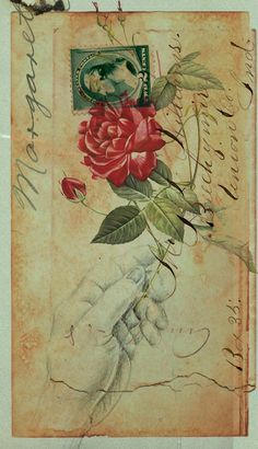 romantic paris vintage post cards | Vintage, rose, love, envelope, romance