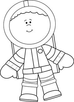 Black and White Little Boy Astronaut