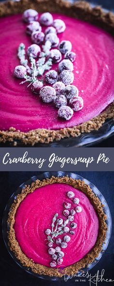 Cranberry Gingersnap Pie Spicy Gingersnap crumb crust filled with a sweet and tart and magnificently colorful cranberry curd that will surely steel the show at everyone's holiday table! Fall Desserts, Christmas Desserts, Just Desserts, Delicious Desserts, Yummy Food, Holiday Pies, Tart Recipes, Sweet Recipes, Dessert Recipes