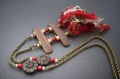 boho necklace • Indian floral silk • carved bone • sunflower • bronze chain • tribal gipsy • long necklace • wood • artisan • entre2et7