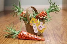 These cute carrot treat bags would be an easy project to mass produce for Easter gifts, teacher gifts and more. They came together really quickly-once I gathered all of the supplies! Surprisingly, the hardest part for me was finding orange colored candies in bulk. I used Reese's Pieces. I had to pick out all of the orange …