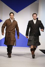 """Designs by Howie Nicholsby of 21st Century Kilts.  """"Dressed to Kilt"""" charity fashion show, Tartan Week, NYC April 5, 2010."""