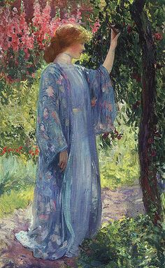 'The Blue Kimono' (1909) by Guy Rose. Oil on canvas. Private collection. // Found by @RandomMagicTour - Sasha Soren