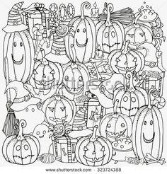 Pattern for coloring book. Set of Halloween symbols pumpkin, broom, bat, spider webs.