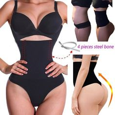 Minimizes cravings and snacking. Combine the continuos use of this product with a healthy lean diet, exercise and drink plenty of water for extraordinary results. 1 pcs shaper. EFFECTIVE & SEXY: Sexy thong design enhances buttox area. | eBay! Plus Size Underwear, Seamless Underwear, High Hips, High Waist, Tummy Slimmer, Slimming Corset, Womens Bodysuit, Flat Tummy, Waist Cincher