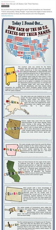How the 50 US States Got Their Names - Here's a fun online quiz that you can use with your students. Post it to a private audience by using email addresses. #history #geography #socialstudies: