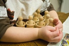 Wooden peg dolls and vessels ~ can go in bath!