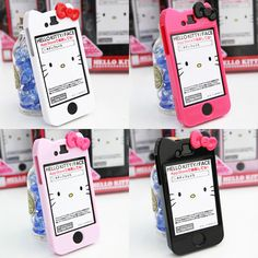Hello Kitty Phone Cases ♥ I have a version like these with an actual Hello Kitty on the back :D