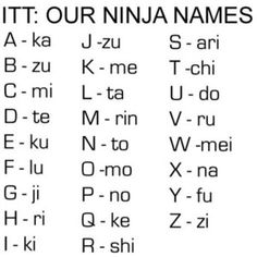 Rinkato Tekiku - My ninja name. (Letters of your first name, I split my name into first and last) (Yes, I know Japanese names are Patriarchal derivatives.it's a *ninja* name folks) Ninja Name, Doug Funnie, Otaku, Math Games For Kids, Teen Activities, Fitness Activities, Japanese Names, Just For Laughs, Laugh Out Loud