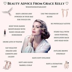 anna on a little post on beauty advice from Grace Kelly. i love this post! i had so much fun reading about her beauty secrets sand creating this Beauty Skin, Health And Beauty, Beauty Makeup, Hair Beauty, Makeup Tips, Makeup Art, Face Makeup, Angel Aesthetic, Classy Aesthetic