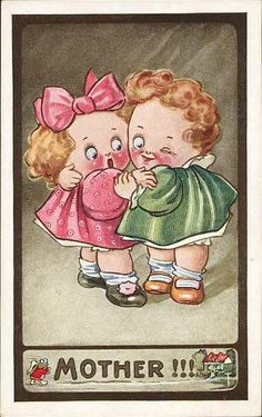 Antique Child Humor Postcard Kute Kiddies 635 Mother !!! Hug & Wink Kids | eBay