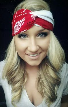 RED Detroit Red wings twist headband by TheWoodenAntler on Etsy