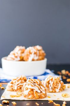Carrot Cake Macaroons: The combination of shredded carrot, coconut, walnuts, spices and of course a cream cheese drizzle make these chewy, melt-in-your mouth macaroons a decadent treat!