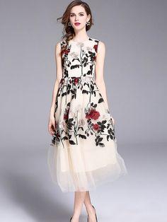 1985150996 Vinfemass Mesh Patchwork Embroidery Flowers Decor Long Tank Evening Dress.  Elegant Party DressesFormal ...