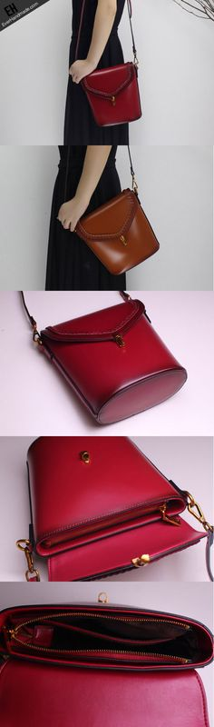 Genuine Leather bucket bag shoulder bag for women leather crossbody