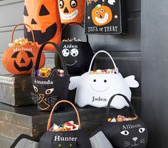 Complete your kids' fright-night ensemble with the perfect treat bag! Add their names for a unique look and enjoy free shipping on all treat bags. Click to view over 40 different styles!