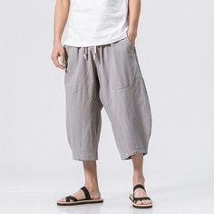 Mens Summer Breathable Cotton Linen Solid Color Calf Length Baggy Loose Drawstring Casual Shorts is worthwhile and good-looking, mens shorts sales at the lowest prices in one year Mobile. Loose Shirts, Henley Shirts, Man Street Style, Mens Yoga Shorts, Georgia, Style Chinois, Cardigan Long, Harem Pants Men, Pantalon Large
