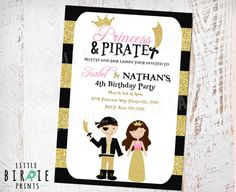 Hey, I found this really awesome Etsy listing at https://www.etsy.com/listing/221743404/princess-and-pirate-invitation-for