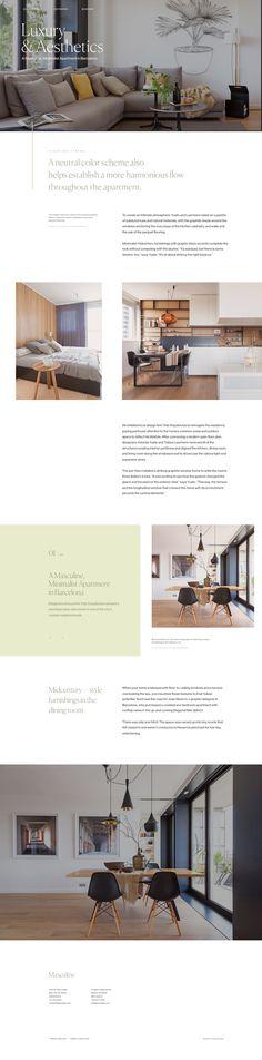 Modern apartment landing page minimal typography ui design