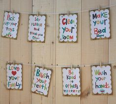 i need these on my wall above where my girls hang their back packs...little constant reminders...