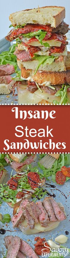 Insane Steak Sandwiches are gourmet sandwiches, seasoned to perfection with zesty Italian herbs and toppings. The best steak sandwich recipe ever! #steaksandwiches #gourmetsandwiches AD www.savoryexperiments.com
